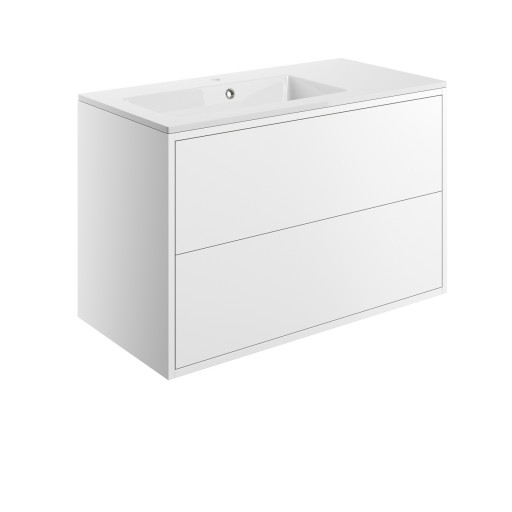 DIFTP1490Perla Matt White 900mm 2 Drawer Wall Hung Vanity Unit Inc  Basin