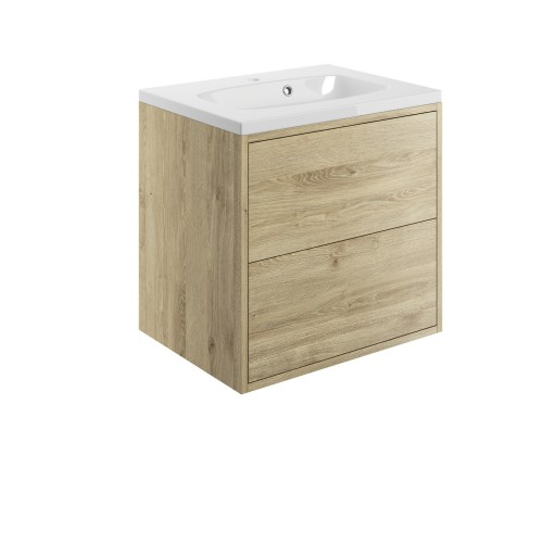 DIFTP1502Perla Havana Oak 600mm 2 Drawer Wall Hung Vanity Unit Inc  Basin